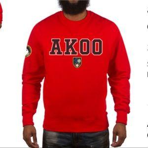 Akoo Red Crew Neck Embroidered Sweater Sweatshirt
